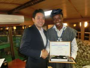 Receiving my TOYP Certification from JCI 2013 President (Mr. Yamamoto)